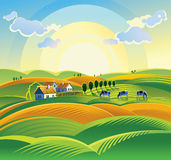 Summer countryside landscape. Royalty Free Stock Photos