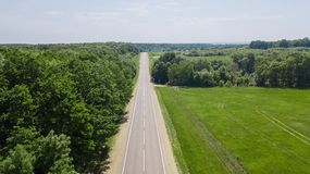 Summer countryside road between dense forest and fields stock image