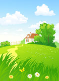Summer countryside vertical. Illustration of a beautiful summer countryside with a home Stock Photography