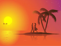 Summer couple. A lonely couple in love on a small island. The sun is down and the mood is romantic. Linear and radial gradients used. Eps 8 file easily editable Royalty Free Stock Photography