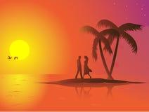 Summer couple vector illustration