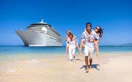 Summer Couple Island Beach Cruise Ship Concept Stock Photos