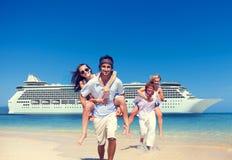 Summer Couple Island Beach Cruise Ship Concept Stock Photography