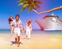 Summer Couple Island Beach Cruise Ship Concept Stock Image