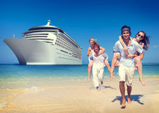 Summer Couple Island Beach Cruise Ship Concept Stock Images