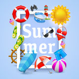 Summer cover design elements. Vector illustration background. Happiness concept. Royalty Free Stock Image