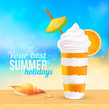 Summer creamy cocktail with orange slice Royalty Free Stock Photos