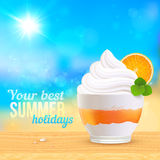 Summer creamy dessert on sunny beach Stock Image