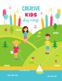 Summer Creative Art Camp for Kids Poster Template. Vector Illustration Royalty Free Stock Photo