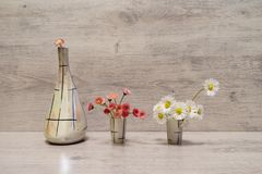 Summer creative still life in minimal style. White and pink Marg stock photography