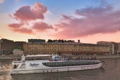 Summer Cruise tours on the Moscow river on the Radisson Flotilla boats. Royalty Free Stock Images