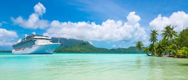 Summer Cruise Vacation Travel. Panoramic Landscape View With Cruise Ship In Bora Bora. Stock Image