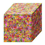 Summer cube concept. Summer cube   concept is made from bright  summer flowers. Abstract handmade isolated  collage Royalty Free Stock Photo