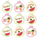 Summer cupcake topper with cute girl and watermelon on watermelon frame  cartoon for summer cupcake topper set. And sticker set Royalty Free Stock Photography