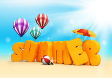 Summer 3D Dimensional Texts Standing in Beach Sand. With Sky and Sun Rays Background with Flying Colorful Balloons, Umbrella, Starfish, Sunglasses and Beach Stock Images