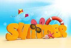 Summer 3D Dimensional Texts Standing in Beach Sand. With Sky and Sun Rays Background with Flying Colorful Kites, Lifebuoy, Starfish, Sunglasses, corals, and vector illustration