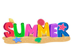 Summer 3D letters with Elements Stock Image