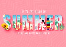 Summer 3D Realistic Stylish Modern Design Banner in Pink Patterned Background with Clipped Tropical Elements like Palm Trees. Sunflower, Beach Ball, Toucan royalty free illustration