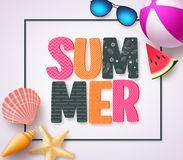 Summer 3D text banner design with colorful patterns and summer beach holiday elements. In a white texture background and boarder. Vector illustration Stock Photos