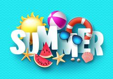 Summer 3d text vector banner design with white title and colorful tropical beach elements. In blue pattern background for summer season. Vector illustration Stock Photos
