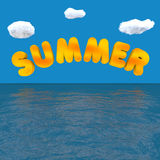 Summer. 3d word SUMMER which is reflected by the sea Royalty Free Stock Images