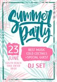 Summer dance party invitation, flyer or poster template with lettering written against colorful tropical palm tree. Leaves on background. Vector illustration Royalty Free Stock Photos