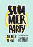 Summer dance party invitation or poster template with lettering handwritten against slice of juicy yellow lemon on blue royalty free illustration