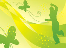 Summer dancer. With butterflies on green backdrop Stock Photos