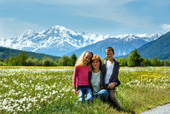 Summer dandelion meadow and family (Italy). Stock Photography
