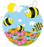 Summer day. Funny bees on field.Illustration Stock Image