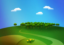 Summer day. Sunny summer day stylized landscape illustration Royalty Free Stock Photography