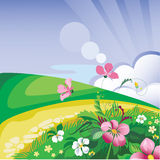 Summer day. Vector image of a summer landscape Stock Image
