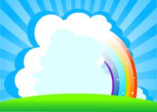 Summer day background. With rainbow. Place for copy text royalty free illustration