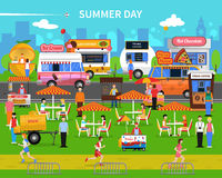 Summer Day Background. With street food carts and park flat vector illustration Royalty Free Stock Images