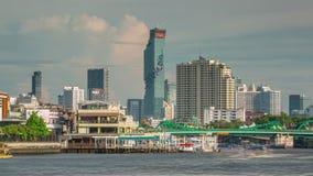 Summer day bangkok main river city panorama 4k time lapse thailand stock video footage