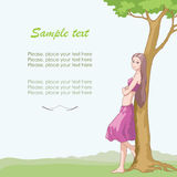 Summer day. Beautiful girl near the tree vector illustration