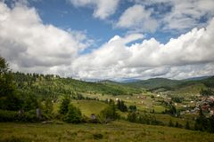 Summer day in Carpathian mountains Stock Photo