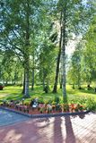 Summer day at the cemetery. A beautiful August day at Örnäskyrkogården in Lule Stock Photo