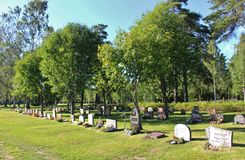 Summer day at the cemetery. A beautiful August day at Örnäskyrkogården in Lule Stock Images