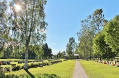 Summer day at the cemetery. A beautiful August day at Örnäskyrkogården in Lule Stock Photography