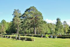Summer day at the cemetery. A beautiful August day at Örnäskyrkogården in Lule Royalty Free Stock Image