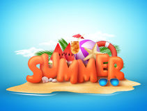 Summer day  design of 3d summer text in beach island Stock Photos