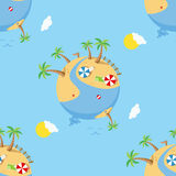 Summer Day on Earth Seamless Pattern. A summer day on planet Earth: a seamless pattern with a cartoon world with a sand beach, the sea, a river, palm trees Royalty Free Stock Photos