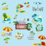 Summer day elements clip art set. Logo salons and spa.icon vector illustration
