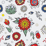 Summer day elements set with flowers. stock . cartoon.  Royalty Free Stock Photography