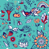 Summer day elements set. stock . cartoon seamless pattern Royalty Free Stock Photography