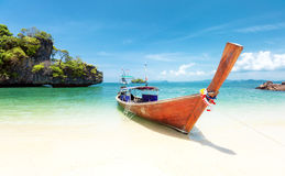 Summer day on exotic beach of tropical island. Thailand tourism Royalty Free Stock Photos