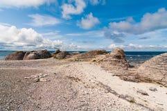 Beautiful rauks rocks formations at Fårö in Gotland royalty free stock photo