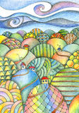 Summer day. Fairy landscape. Colorful hills with houses and roads. Fantasy pencil drawing Stock Photos