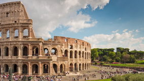 Summer day famous rome colosseum tourist crowded panorama 4k time lapse italy stock footage